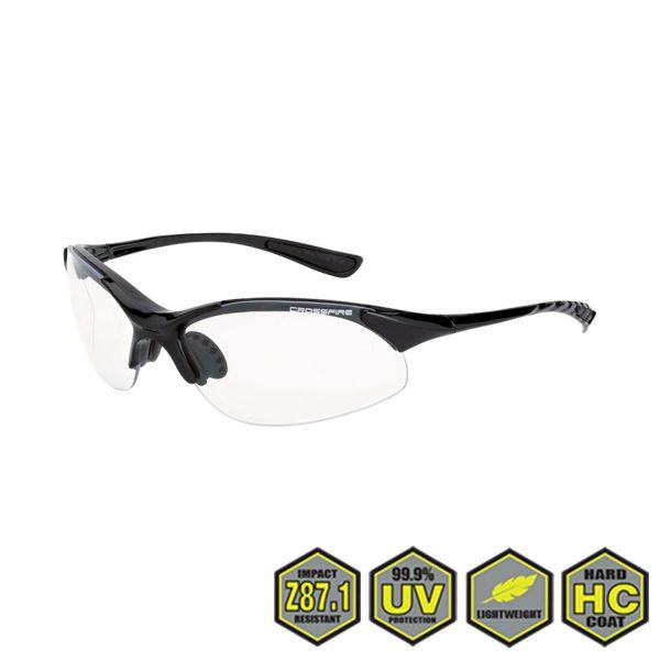 Radians Crossfire Premium Safety Glasses, 1524 Clear lens, shiny black frame