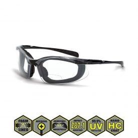 Radians Crossfire Concept Safety Glasses, 844 AF Clear AF, crystal black, foam lined