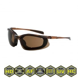 Radians Crossfire Concept Safety Glasses, 867 AF HD brown AF, black frame, foam lined
