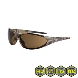 Radians Crossfire Core Safety Glasses, 18146 HD brown lens, woodland camo frame