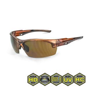 Radians Crossfire Safety Glasses, 40117 HD Brown Lens, Crystal Brown Frame