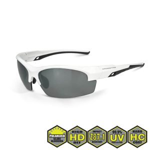 Radians Crossfire Crucible Polarized Safety Glasses, 40227 Silver Mirror Polarized and White Frame
