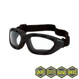Radians Crossfire Element Foamed Lined Safety Goggles, 91351 AF Clear anti-fog lens, black frame