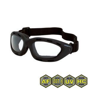 Radians Crossfire Element Foamed Lined Safety Goggles, 91351 AF Clear anti-fog lens, black frame