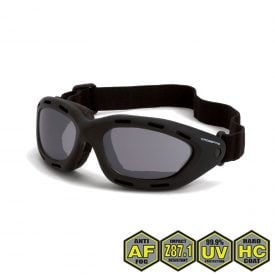 Radians Crossfire Element Foamed Lined Safety Goggles, 91352 AF Smoke anti-fog lens, black frame