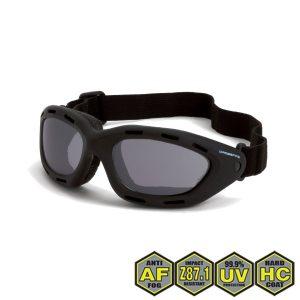 Radians Crossfire Element Foamed Lined Safety Goggles, 91352 AF Smoke anti-fog lens, black frame