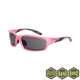 Radians Crossfire Infinity Pink Safety Glasses, 22528 Dark smoke lens, pearl pink frame