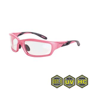 Radians Crossfire Infinity Pink Safety Glasses, 2254 Clear lens, pearl pink frame