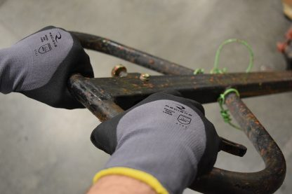 Radians RWG20 3/4 Foam Dipped Nitrile Work Gloves, In use