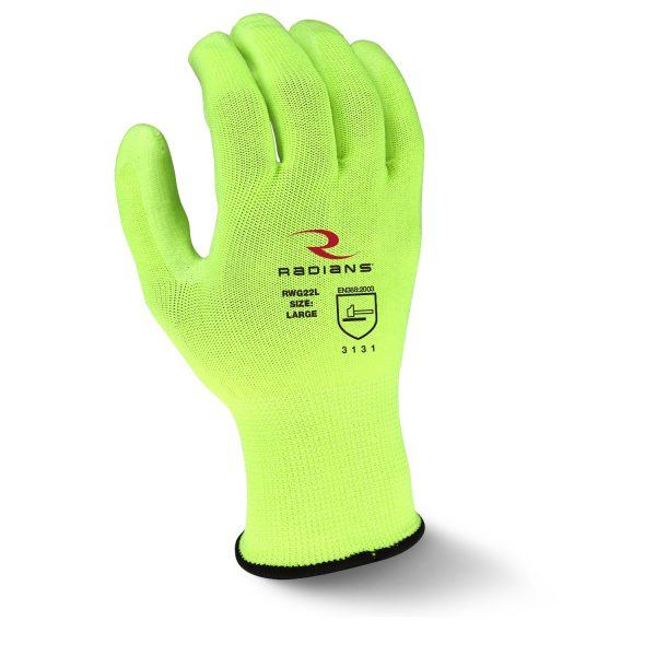Radians RWG22 High Visibility PU Polyester Work Glove, Back
