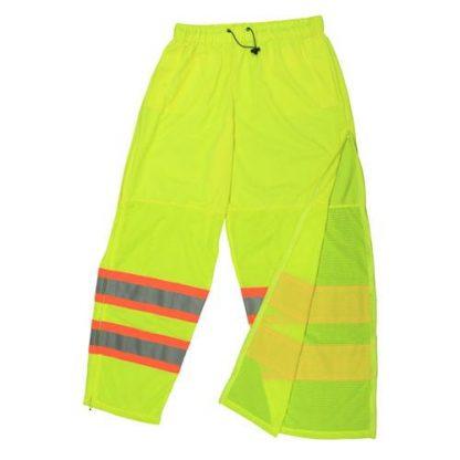 Radians SP61 Class E High Visibility Safety Pants, Mesh Green Zipper