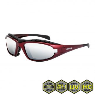 Radians Diamond Back Foam Lined Safety Glasses, 27103 Silver mirror, shiny red, foam lined