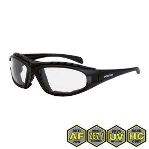 Radians Diamond Back Foam Lined Safety Glasses, 2724 AF Clear AF, matte black frame, foam lined