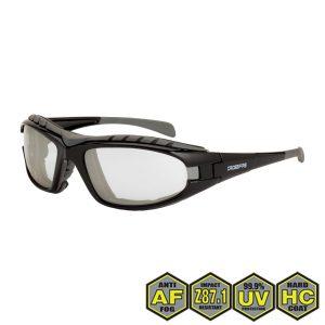 Radians Diamond Back Foam Lined Safety Glasses, 27615 AF I/O AF, shiny black frame, foam lined