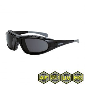Radians Diamond Back Foam Lined Safety Glasses, 2761 AF Smoke AF, shiny black, foam lined
