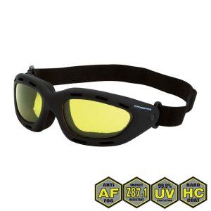 Radians Crossfire Element Foamed Lined Safety Goggles, 91353 AF Yellow anti-fog lens, black frame