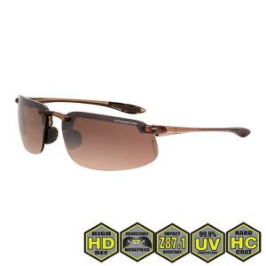Radians crossfire ES4 Safety Glasses, 211125 HD brown flash mirror, crystal brown