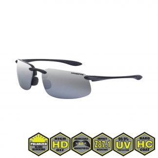 Radians crossfire ES4 Safety Glasses, 21427 silver mirror polarized lens, crystal black frame