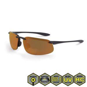 Radians crossfire ES4 Bifocal Safety Reader's Glasses, bronze, matte black