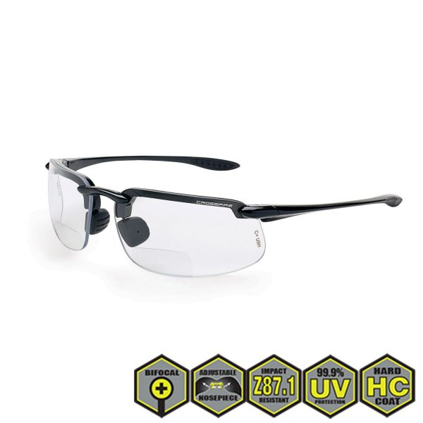 Radians crossfire ES4 Bifocal Safety Reader's Glasses, clear, pearl gray