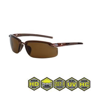 Radians Crossfire Polarized Safety , 291113 HD brown lens, crystal brown frame
