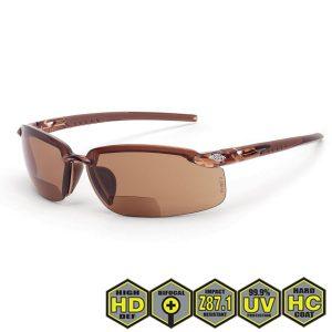 Radians Crossfire Safety Glasses, Brown Lens w/ Crystal Brown Frame