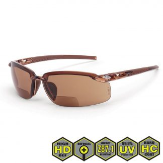 Radians Crossfire Safety Glasses, Brown Lens w/ Crystal Brown Frame