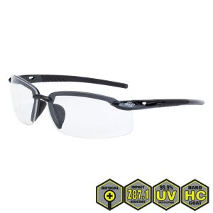 Radians Crossfire Safety Glasses, Clear Lens Black Frame