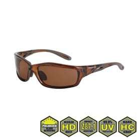 Radians Crossfire Infinity Polarized Safety Glasses, 21126 HD brown polarized lens, crystal brown frame