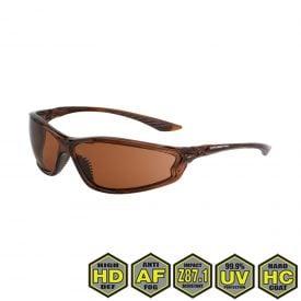 Radians Crossfire KP6 Safety Glasses, 341116 HD copper lens, crystal brown frame
