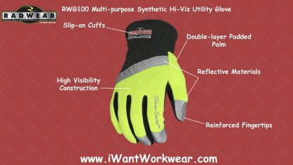 Radians RWG100 Multipurpose Synthetic Silver Series High Visibility Utility Glove