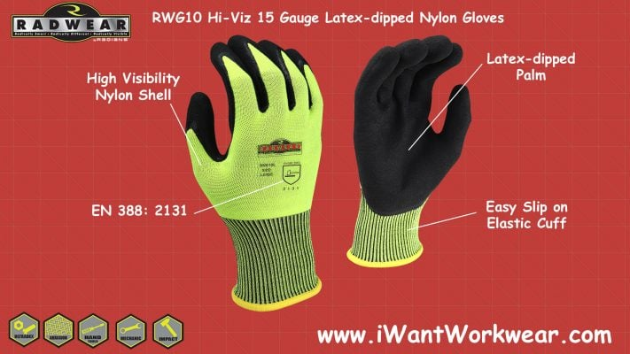Radians RWG10 High Visibility Latex Dipped Nylon Gloves, EN 388: 2131