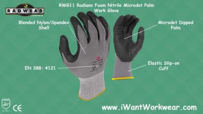 Radians Work Glove, Microdot Foam Nitrile Gripper Glove
