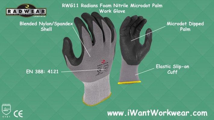 Radians Work Glove, Microdot Foam Nitrile Gripper Glove