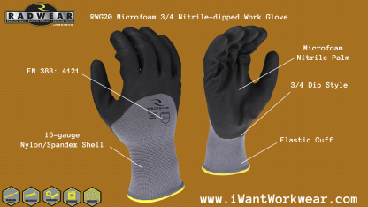 Radians RWG20 Microfoam Nitrile 3/4 Dipped Work Glove, 15-gauge nylon spandex shell