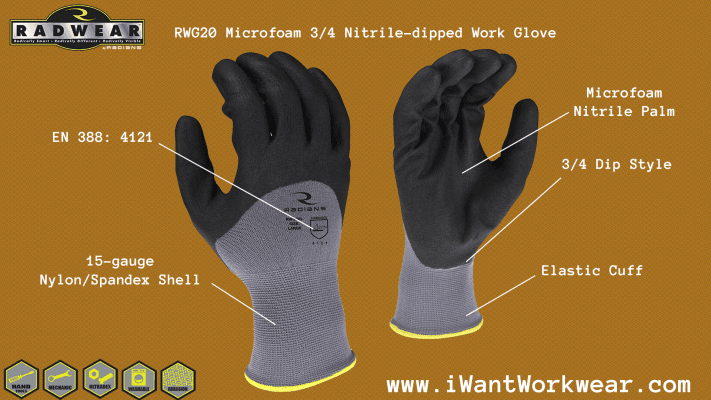 Radians RWG20 Microfoam Nitrile 3/4 Dipped Work Glove, 15-gauge nylon spandex shell