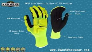 Radians RWG21 Radians High Visibility Work Gloves w/ TPR Knuckles
