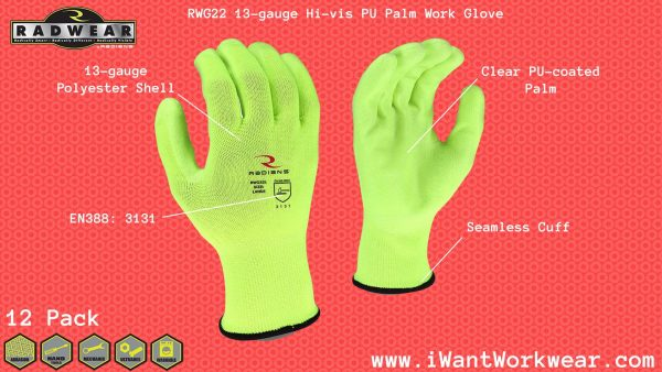 Radians RWG22 High Visibility Polyester Shell with Clear PU Palm Work Glove