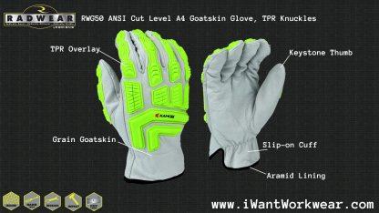 Radians RWG50 ANSI Cut Level A4 Goatskin Leather Work Glove, TPR Knuckles, keystone thumb, aramid lining