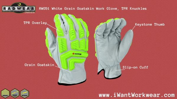 Radians RWG51 White Grain Goatskin Leather Work Gloves with TPR Knuckles