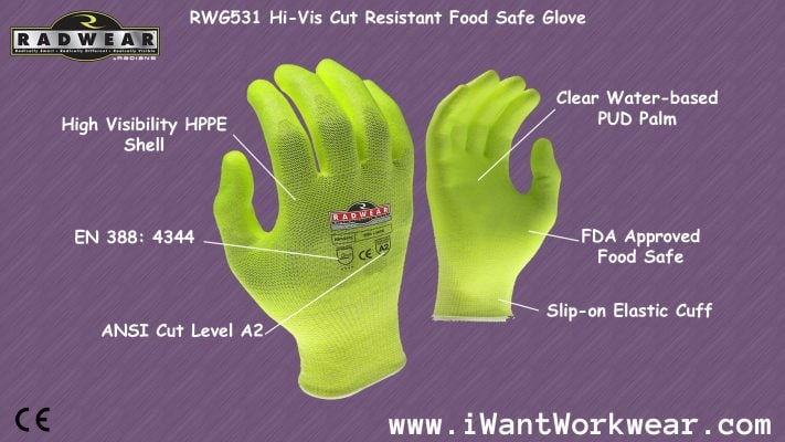 Radians RWG531 ANSI Cut Level A2 High Visibility HPPE Shell with PUD Grip, FDA Approved