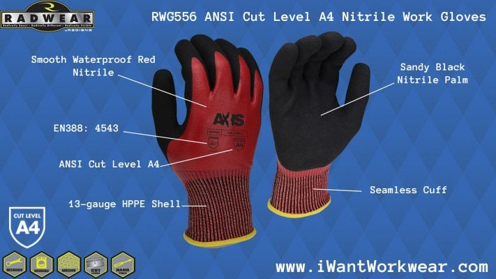 Radians RWG556 AXIS™ Cut Resistant Work Glove, Sandy Nitrile Palm, Cut Protection Level A4