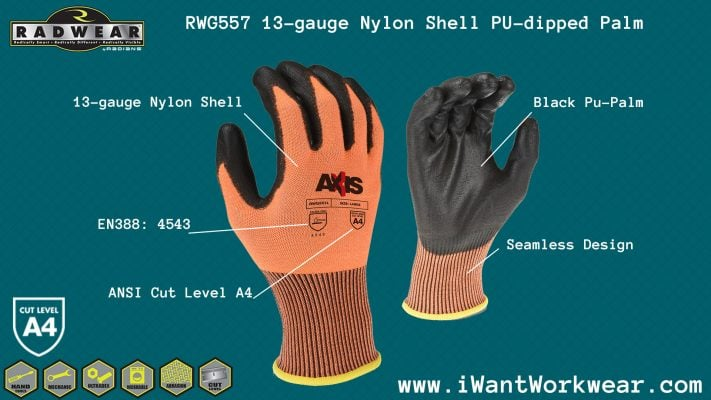 Radians RWG557 13-gauge nylon Work Glove, pu-dipped palm, ANSI Cut LEVEL A4