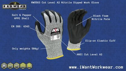 Radians AXIS rwg563 ANSI Cut Level A2 Foam Nitrile Dipped Cut Resistant Work Gloves