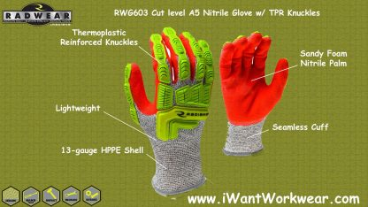 Radians RWG603 Cut Level A5 Sandy Foam Nitrile Palm w/ TPR Knuckles
