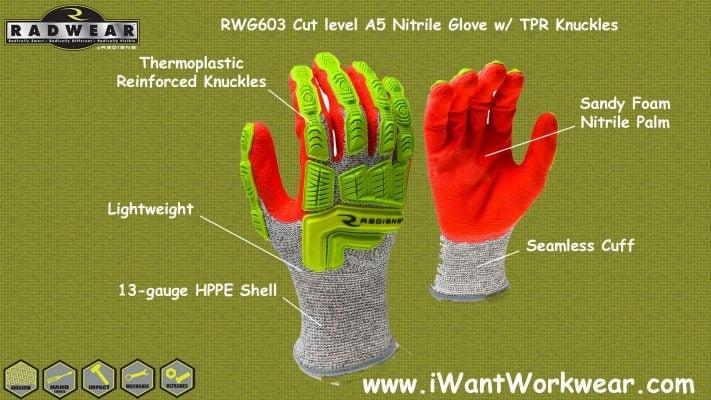 Radians RWG603 Cut Level A5 Sandy Foam Nitrile Palm w/ TPR Knuckles