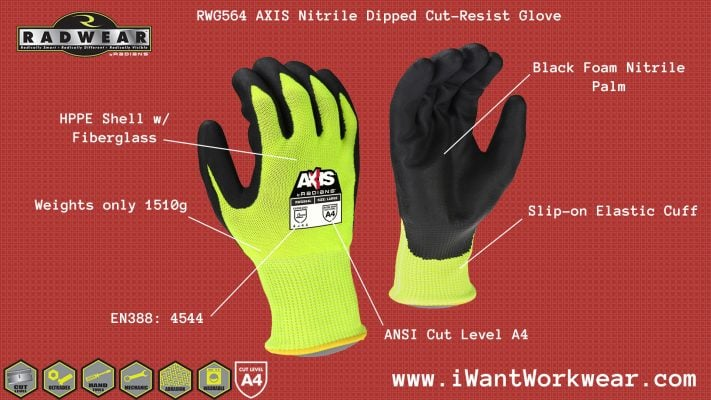 Radians RWG564 ANSI Cut Level A5 Nitrile Dipped Cut Resistant Work Glove