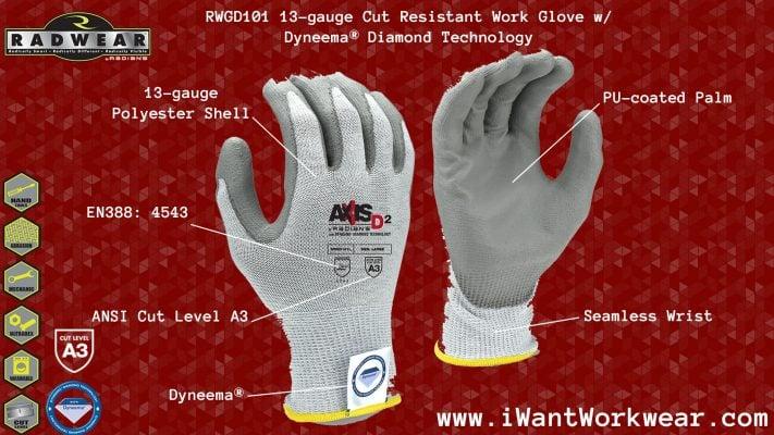 Radians RWGD101 13-gauge Poylestyer Cut Resistant Work Glove, Dyneema® Diamond Technology
