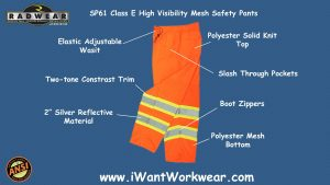 Radians SP61 Class E High Visibility Safety Pants, Mesh Bottoms, Solid Top