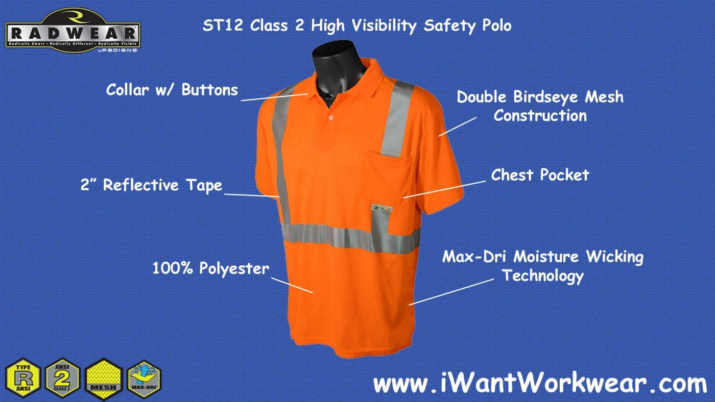 Radians St12 Mens Reflective Safety Polo Iwantworkwear